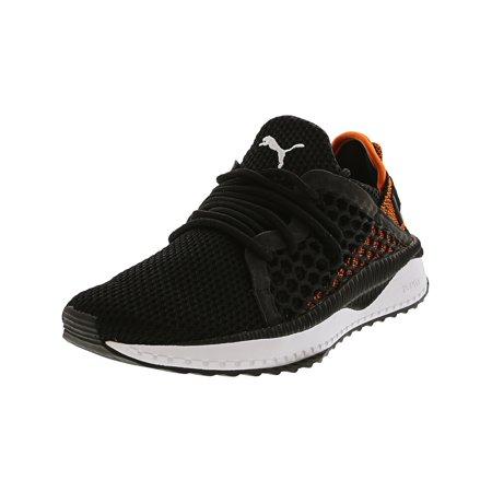 Puma Tsugi Netfit Junior Black / Scarlet Ibis White Ankle-High Fabric Fashion Sneaker - 4.5M (Scarlet Kids Shoes)