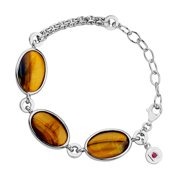 Elle Tiger's Eye Link Bracelet in Sterling Silver