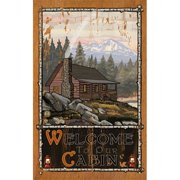 ArteHouse 0003-0521 Cabin in the Woods Planked Wood 14 x 23 Sign