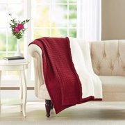 Better Homes and Gardens Cable Knit Reverse To Sherpa Throw Blanket