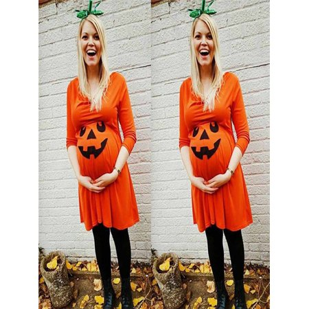 Pregnant Womens Nursing Nightgown Pregnancy Halloween Devil Print Dress Clothes - Nursing Home Halloween Ideas