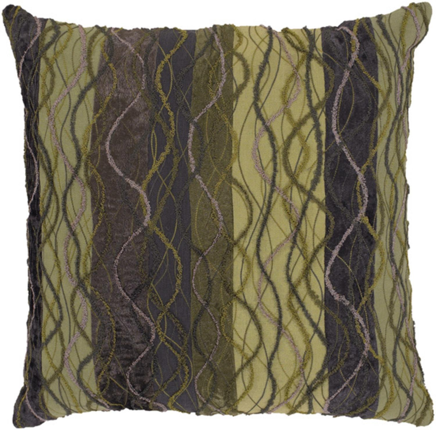 """18"""" Spiral Contemporary Chartreuse Green Decorative Throw Pillow"""