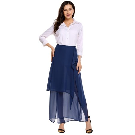 Women Chiffon Double Layered Split Side R uffles Solid Casual Full Length Skirt HFON