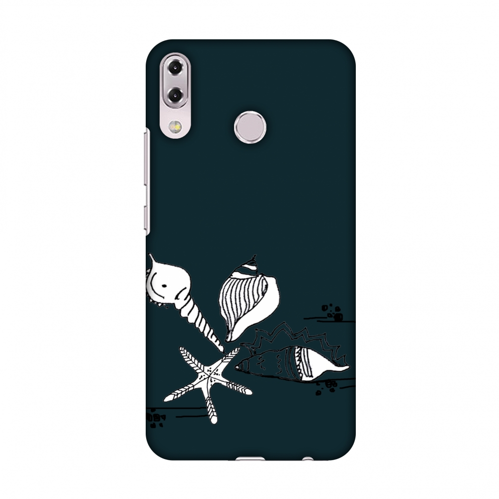 Asus Zenfone 5Z ZS620KL Case - Sea Shells- Rust teal, Hard Plastic Back Cover, Slim Profile Cute Printed Designer Snap on Case with Screen Cleaning Kit