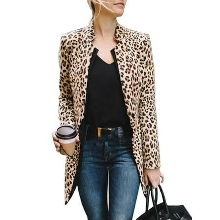 Women Leopard Jacket Sweater Tops Warm Casual Cardigan Long Sleeve Blazer (Apricot Hooded Long Sleeve Cardigan Sweater Coat)