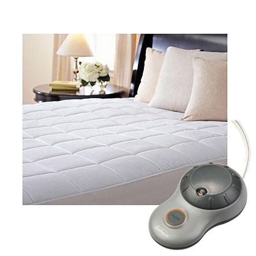 Sunbeam Premium Quilted Cotton Heated Electric Mattress Pad Box Pattern
