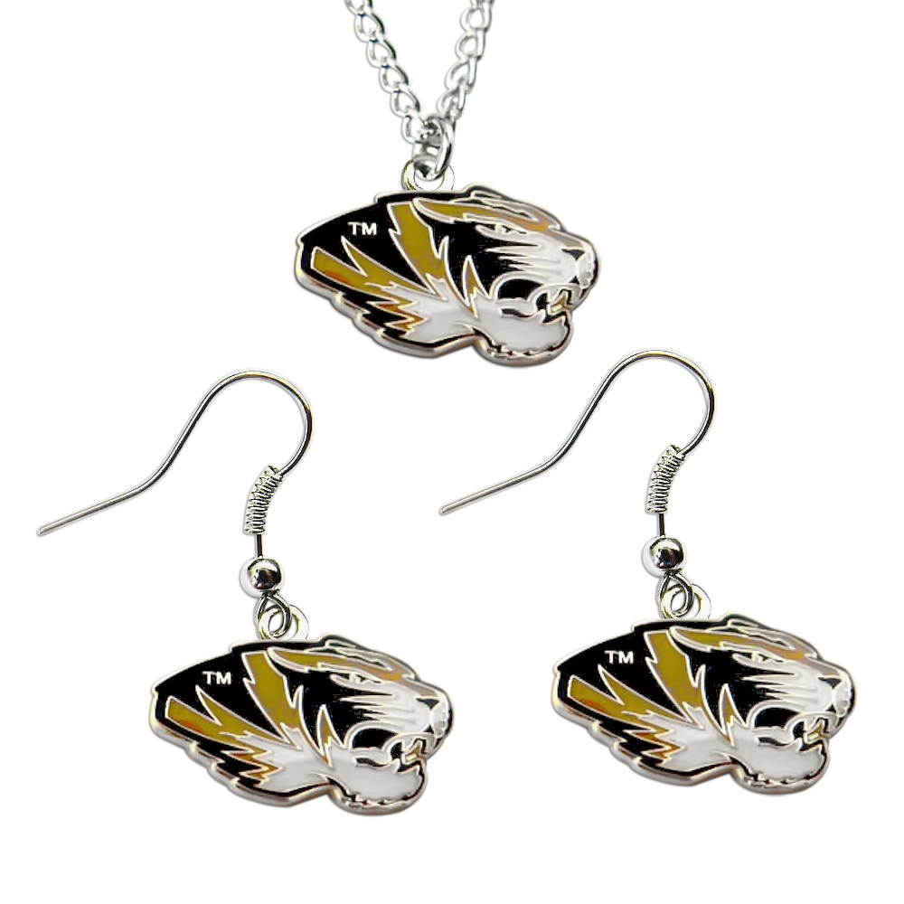 Missouri Tigers NCAA Necklace And Dangle Sports Team Logo Earring Set Charm