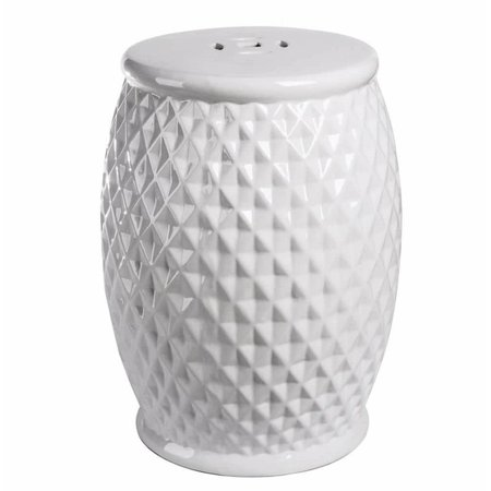 Bowery Hill Tufted Ceramic Garden Stool in White