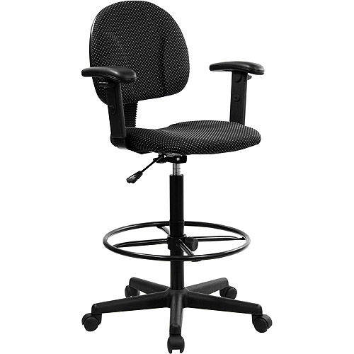 Ergonomic Multi Function Drafting Stool With Adjustable Arms, Black