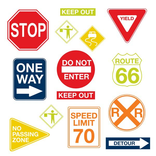 Road Signs Wall Art Kit