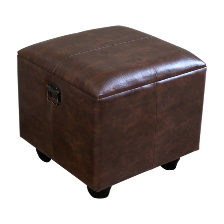 Stupendous Istanbul Faux Leather Square Storage Ottoman With Ball Feet Gmtry Best Dining Table And Chair Ideas Images Gmtryco