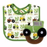 Baby Gift Set-Bib/Tractor Rattle Set-Green/Brown/White