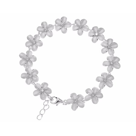 925 sterling silver Hawaiian plumeria flower link bracelet cz 10mm