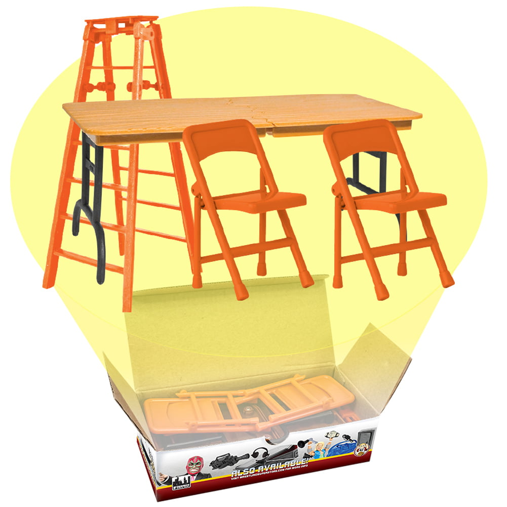ULTIMATE Ladder, Table & Chairs Orange Playset for WWE Wrestling Action Figures by