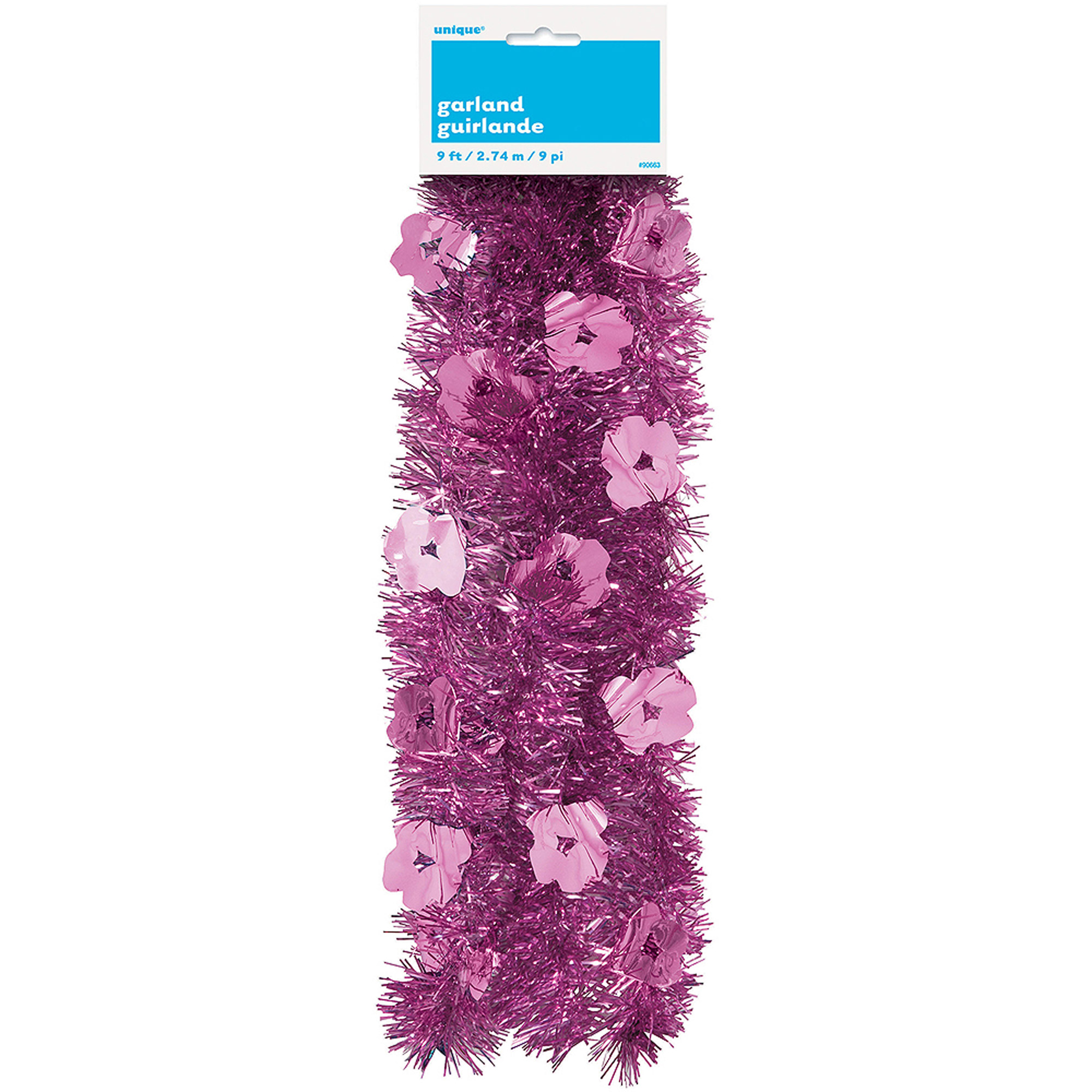 9ft Luau Flower Tinsel Garland
