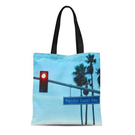 KDAGR Canvas Tote Bag California Pacific Coast Highway Sign Huntington Beach Ca Pch Reusable Handbag Shoulder Grocery Shopping (Pizza D Oro Menu Huntington Beach Ca)