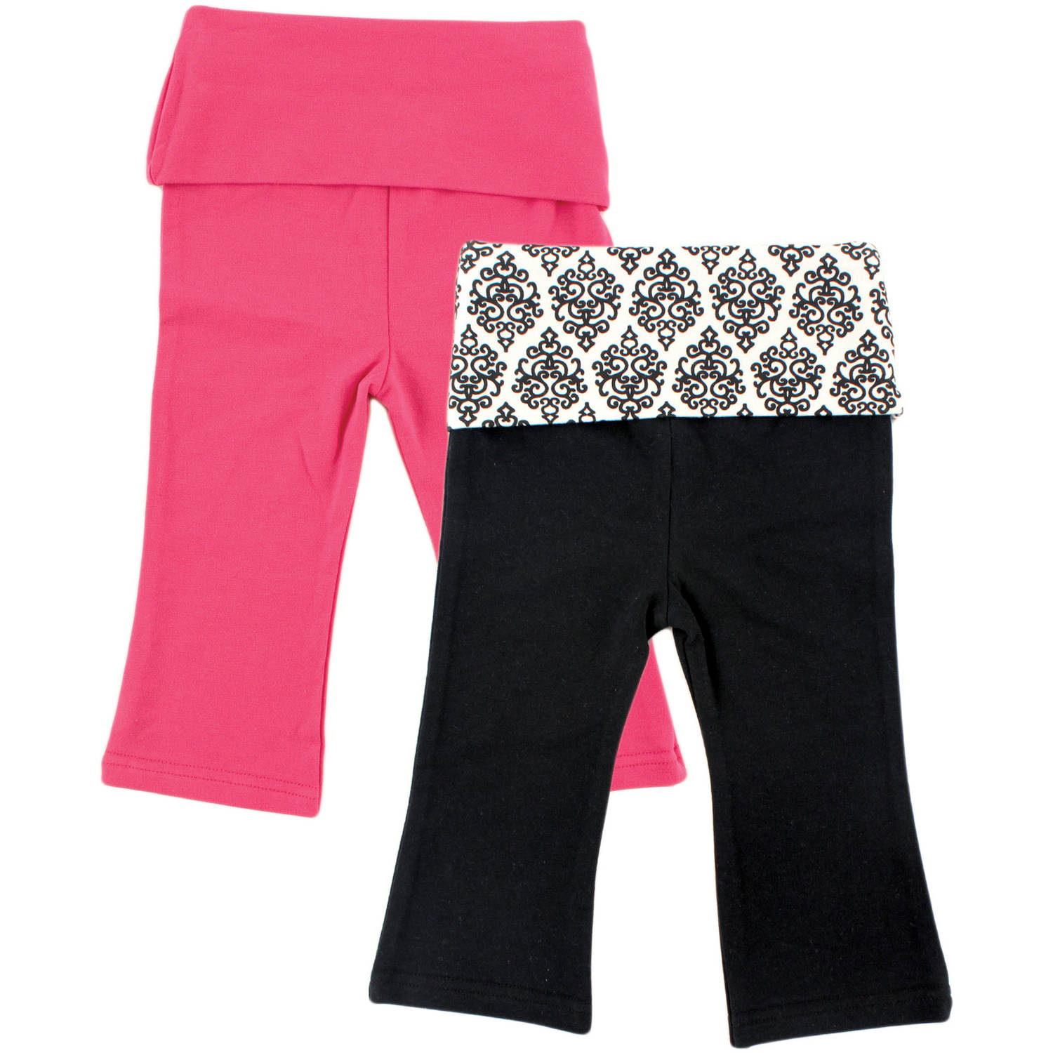 Yoga Sprout Newborn Baby Girls 2 Pack Yoga Pant - Damask