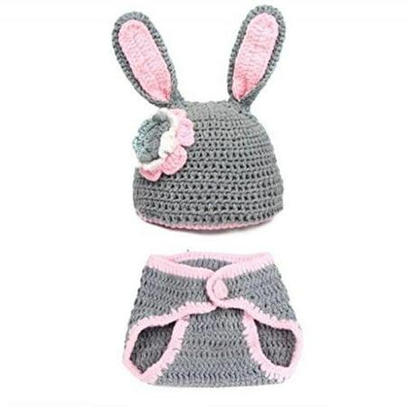 BubuBibi Photography Prop Gray Easter Bunny Rabbit Crochet Costume Hat &