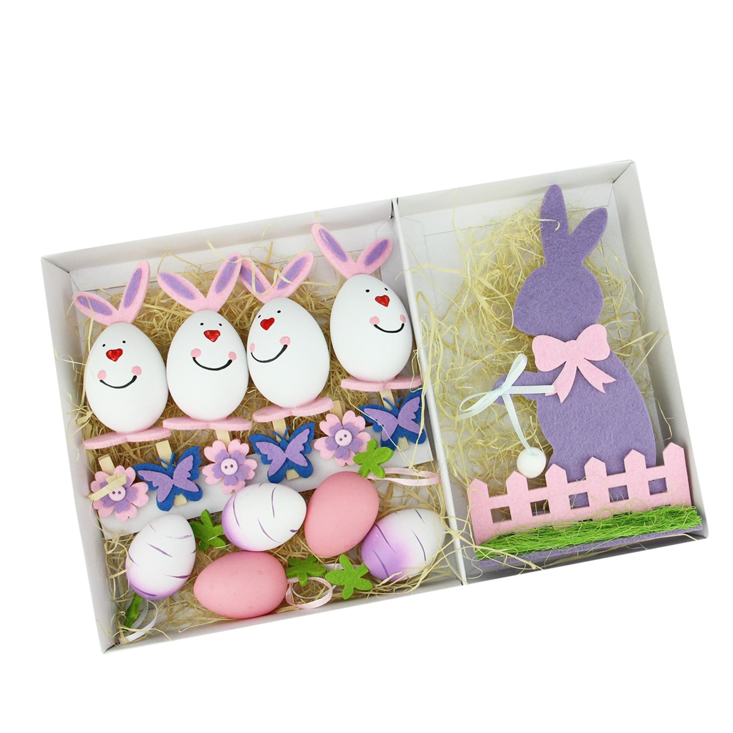 Set of 16 Pink Purple and White Easter Egg Flower & Bunny Spring Decorations