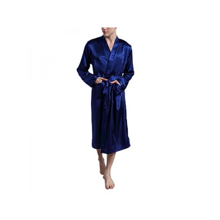 Men's Satin Silk Pajamas Kimono Lace up Bathrobe Home Sleepwear