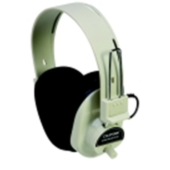 Califone Deluxe Volume Control Mono Headphone With Permanent 6 Ft.  Coiled Cord