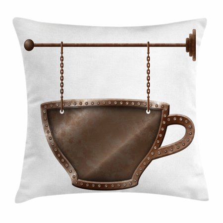 Coffee Throw Pillow Cushion Cover, Old Rusty Cup Hanging Signboard on Chains Grungy Rough Looking Mug Caffeine Drink, Decorative Square Accent Pillow Case, 18 X 18 Inches, Umber White, by Ambesonne