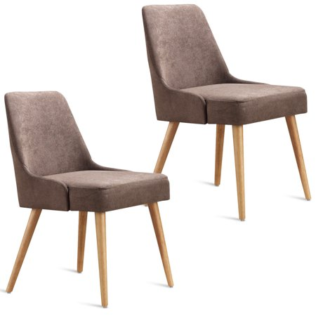 Gymax Set of 2 Dining Chairs Modern Upholstered Tufted Wood Legs Living Room Furniture ()