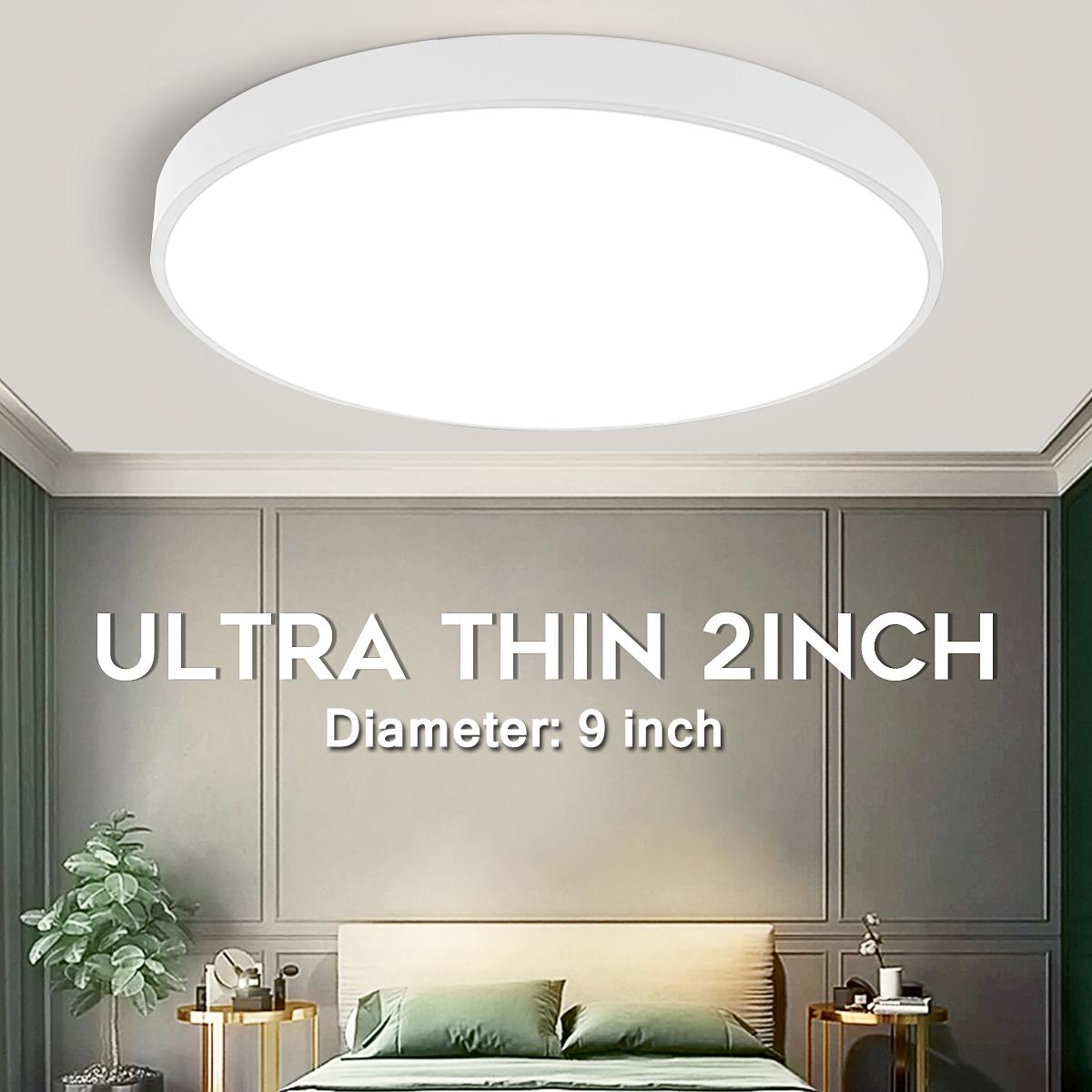 LED Ceiling Mount Light Fixture, 8 inch/ 8 inch Super Bright LED Flush  Mount Ceiling Light for Indoor & Outdoor Home Bedroom Living Room Study