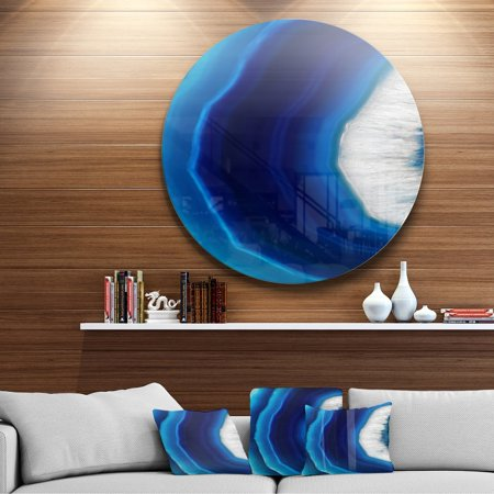DESIGN ART Designart 'Blue Agate Crystal' Abstract Digital Art Circle Metal Wall Art