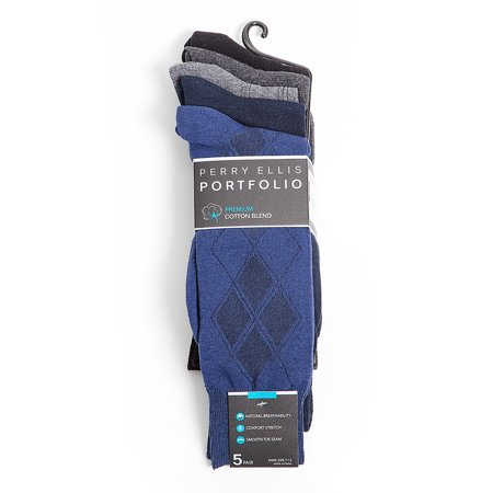 Perry Ellis Portfolio Premium Cotton Blend 5 Pack Socks