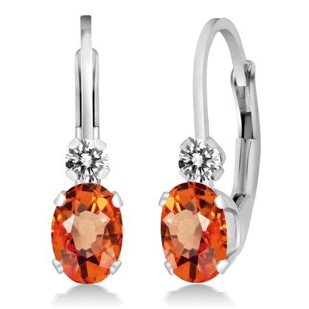 1.17 Ct Oval Orange Sapphire White Diamond 925 Sterling Silver Earrings
