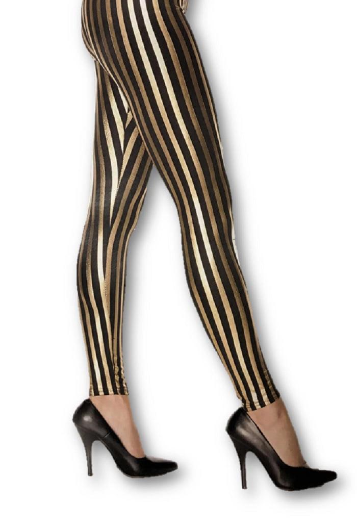 Shiny Metallic Gold /& Black Striped Stretch Leggings Adult Women/'s Costume XS-LG