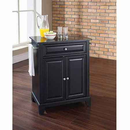 Newport Portable Kitchen Island Counter Top Solid Black Granite Finish Black