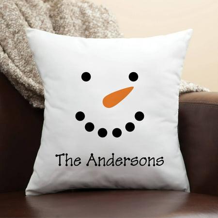 Personalized Snowman Face Pillow