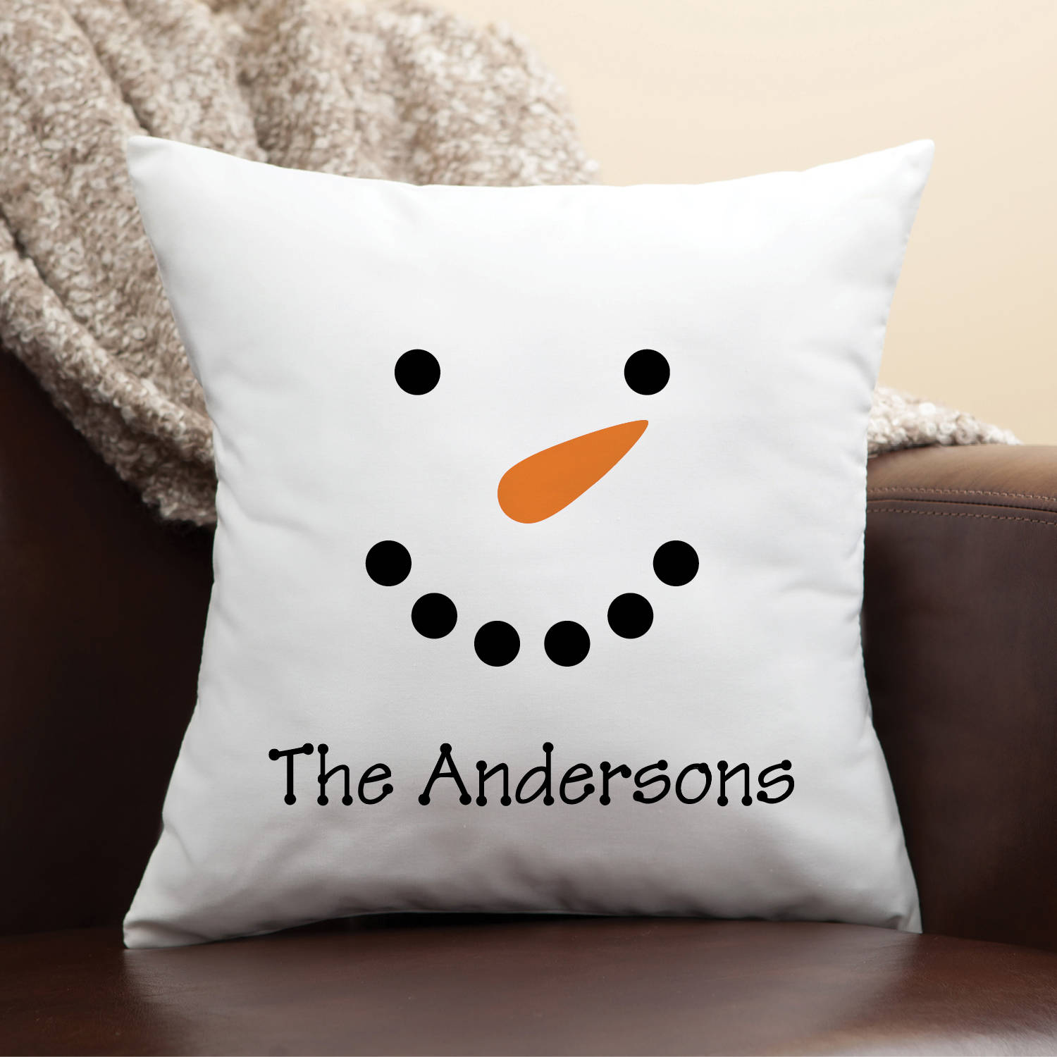 Personalized Snowman Face Pillow