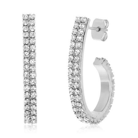 Lesa Michele Women's White Crystal J Shaped Oval 20X30MM Hoop Earrings in Rhodium Plated Brass