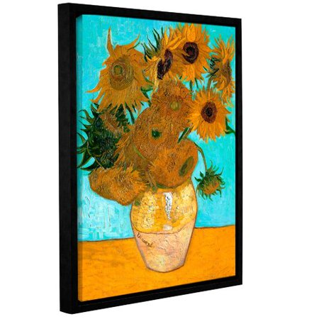 ArtWall Vases with Twelve Sunflowers by Vincent Van Gogh Framed Painting Print on Wrapped