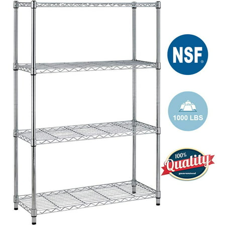 4Shelf Wire Shelving Unit Garage NSF Wire Shelf Metal Storage Shelves Heavy Duty Height Adjustable for 1000 LBS Capacity Chrome ()