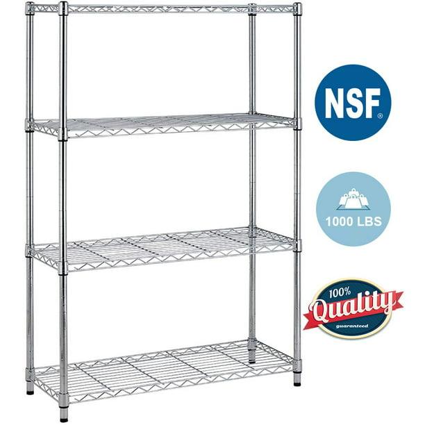 4 Shelf Wire Shelving Unit Garage Nsf, Adjustable Storage Shelves