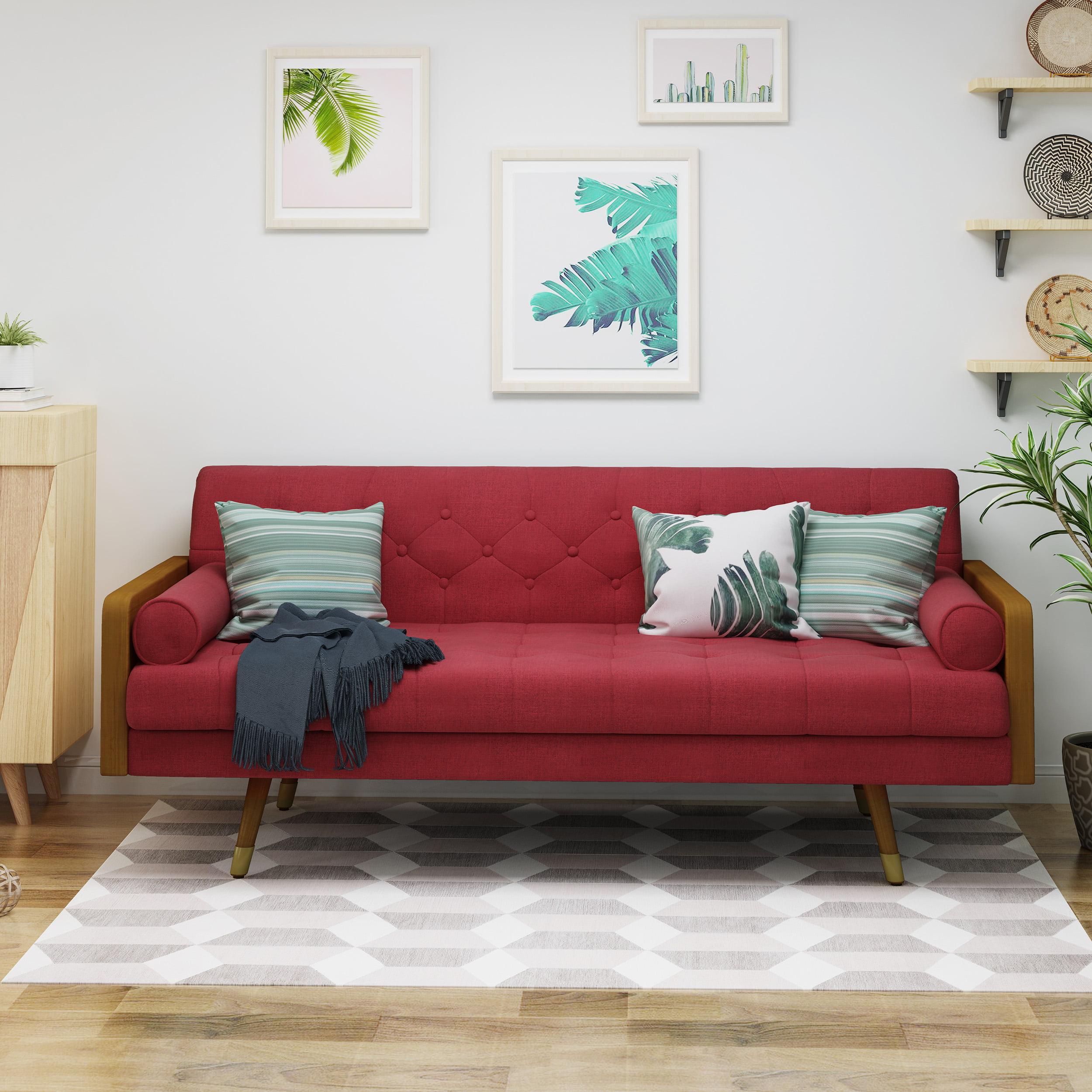 Noble house orlando mid century modern tufted fabric sofa gray walmart com