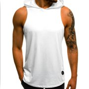 Mens Muscle Hoodie Tank Top Bodybuilding Gym Workout Sleeveless Vest T Shirt