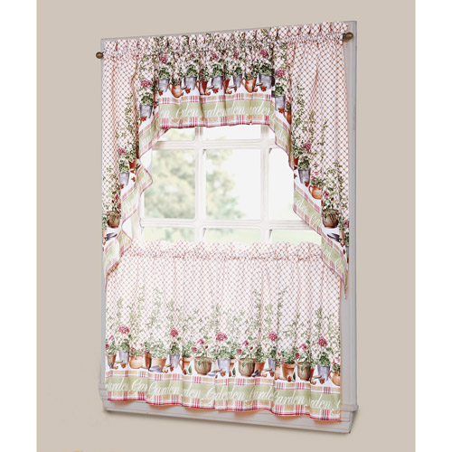 Geranium Floral Printed Microfiber Kitchen Curtain Valance