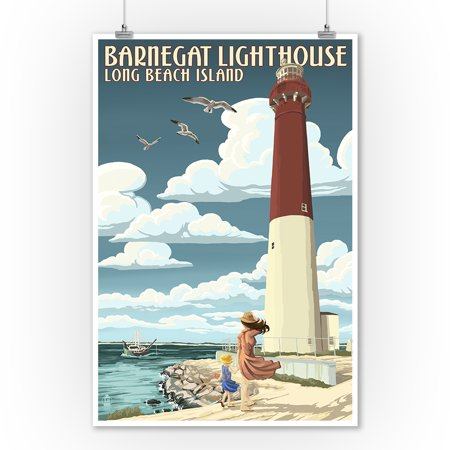 Long Beach Island, New Jersey - Barnegat Lighthouse - Lantern Press Artwork (9x12 Art Print, Wall Decor Travel Poster) - Beach Lanterns