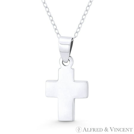 Flat Latin Crucifix Christian Cross Pendant w/ Chain Necklace in .925 Sterling Silver