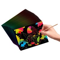 VHALE Scratch Art Rainbow Paper Scratchboard with Wooden Styluses, Classroom Arts and Crafts, Creative Drawings, Party Favors for Kids, 30 Sheets