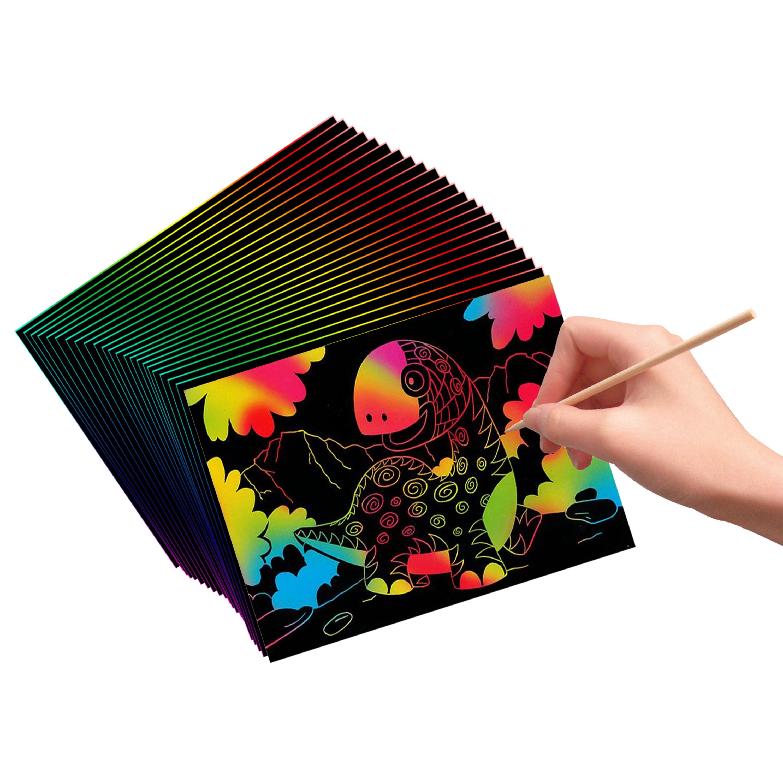 H HOMEWINS Scratch Art Paper,Scratch /& Sketch Art for Kids /& Adults Rainbow Painting Night View Scratchboard,DIY Art Craft Mini Envelope Postcard Set,Scratch Painting Creative Gift