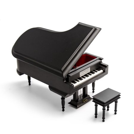 Sophisticated 18 Note Miniature Musical Matte Black Grand Piano With Bench, Music Selection - Adeste Fideles (0 Come, All Ye (Come Together Right Now Over Me Beatles)