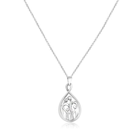"""Jewelili family mother child pendant necklace sterling silver 1"""" tall drop shape 18""""chain, two parent two children, mother jewelry gift for wife, best friend, daughter, mom handcrafted lasting value"""