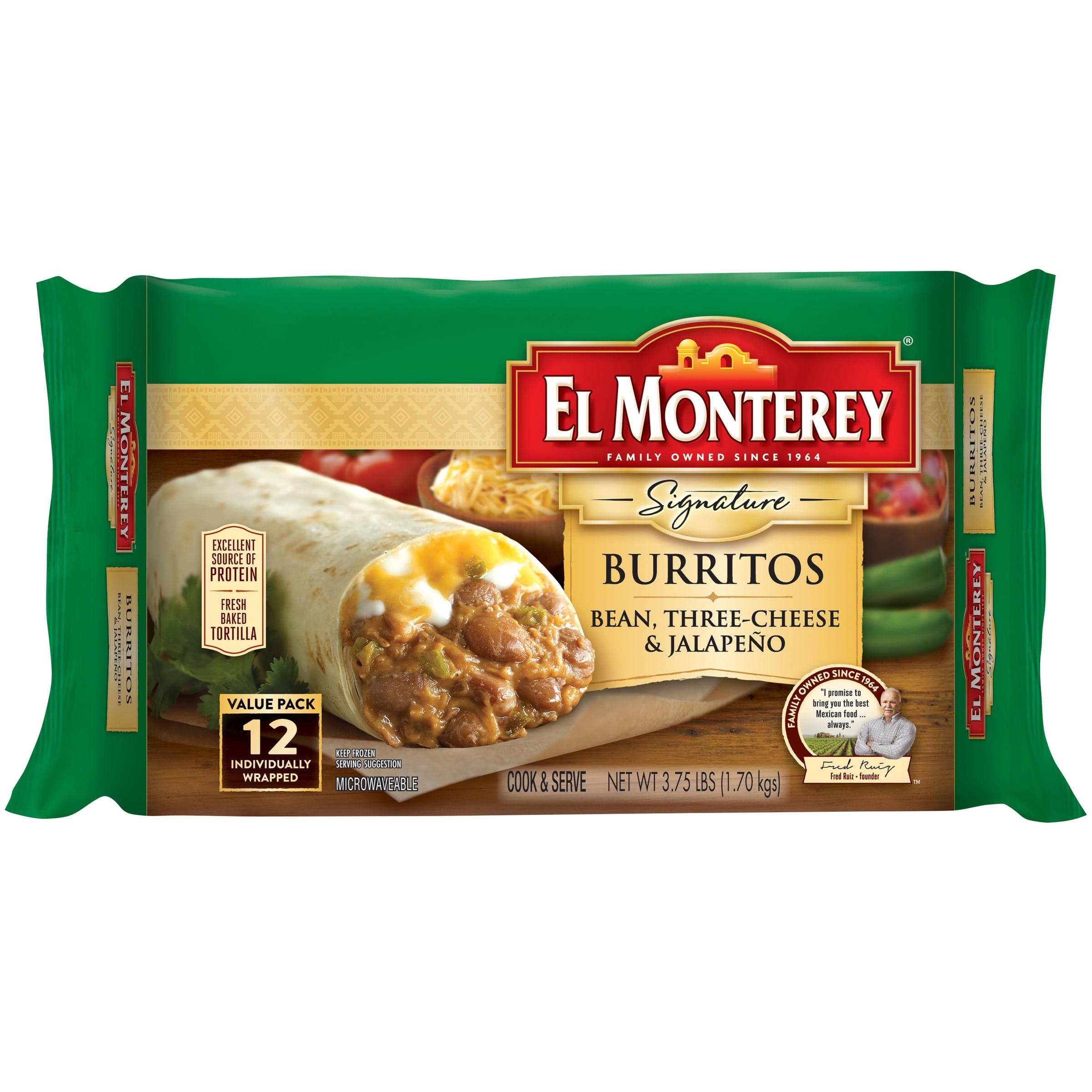 El Monterey® Signature Bean Three-Cheese & Jalapeño Burritos 12 ct Bag