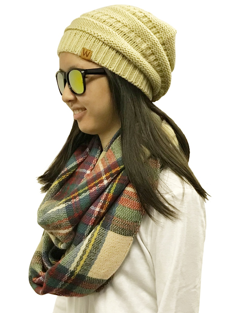 Tan and Orange Wrapables Plaid Print Infinity Scarf and Beanie Hat Set